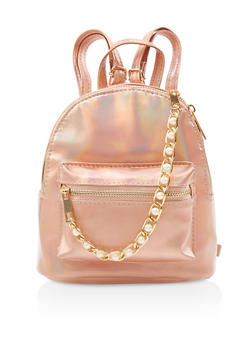 Small Faux Pearl Chain Backpack - ROSE - 3124067448015