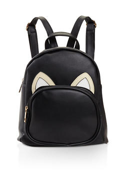 Animal Ears Graphic Faux Leather Backpack - BLACK - 3124067448017