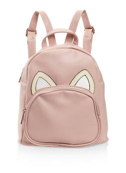Animal Ears Graphic Faux Leather Backpack - BLUSH - 3124067448017