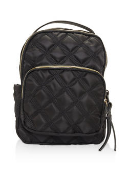 Quilted Nylon Backpack - BLACK - 3124067448019