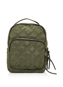 Quilted Nylon Backpack - OLIVE - 3124067448019