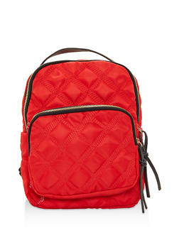 Quilted Nylon Backpack - RED - 3124067448019