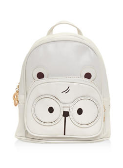 Double Zip Bear Backpack - WHITE - 3124067448020