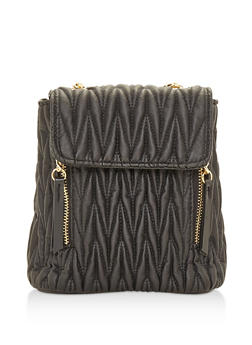 Textured Faux Leather Mini Backpack - BLACK - 3124067448021
