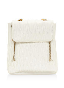Textured Faux Leather Mini Backpack - WHITE - 3124067448021