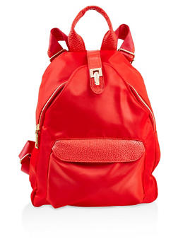 Faux Leather Trim Nylon Backpack - RED - 3124067448023