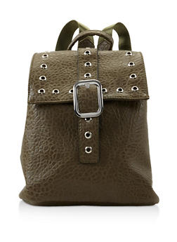 Grommet Detail Textured Faux Leather Backpack - OLIVE - 3124067448024