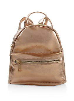 Faux Leather Mini Backpack - ROSE - 3124067448029