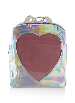 Faux Patent Leather Heart Backpack - 3124067448035