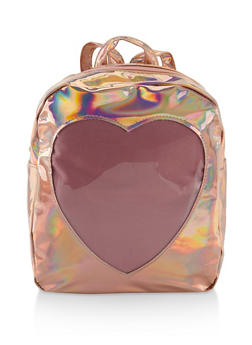Faux Patent Leather Heart Backpack - ROSE - 3124067448035