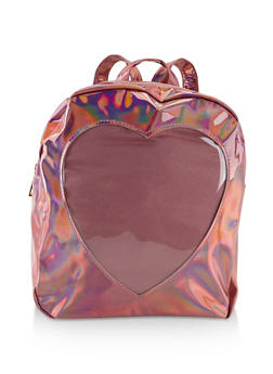 Faux Patent Leather Heart Backpack - PINK - 3124067448035