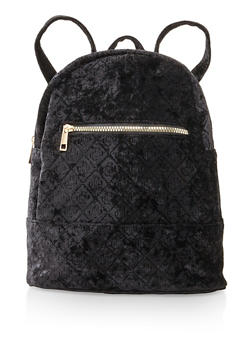 Embossed Crushed Velvet Backpack - BLACK - 3124067448036