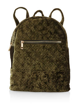 Embossed Crushed Velvet Backpack - OLIVE - 3124067448036