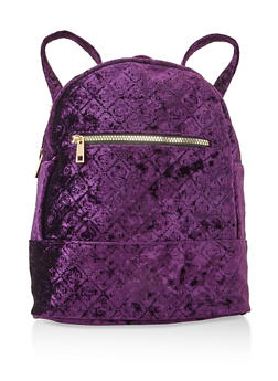 Embossed Crushed Velvet Backpack - PURPLE - 3124067448036