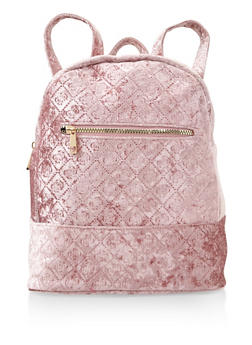 Embossed Crushed Velvet Backpack - MAUVE - 3124067448036