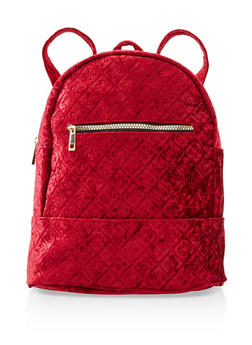 Embossed Crushed Velvet Backpack - BURGUNDY - 3124067448036