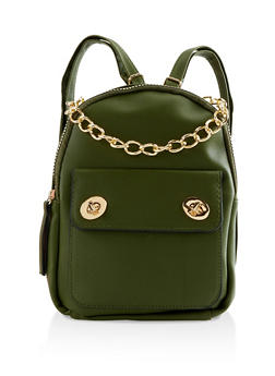Chain Handle Faux Leather Backpack - 3124067448040