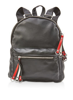 Small Faux Leather Backpack - 3124067448045