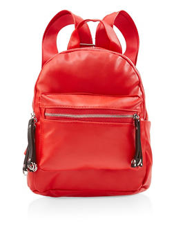 Small Faux Leather Backpack - RED - 3124067448045