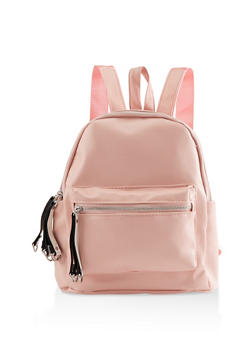 Small Faux Leather Backpack - BLUSH - 3124067448045