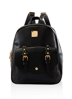 Flower Buckle Backpack - BLACK - 3124067448046