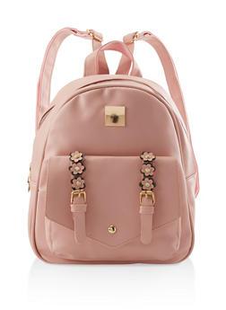 Flower Buckle Backpack - BLUSH - 3124067448046