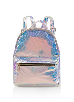 Holographic Faux Leather Backpack - SILVER - 3124067448049