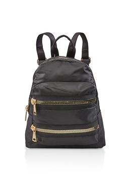 Large Zipper Detail Nylon Backpack - BLACK - 3124067448050