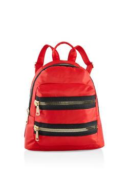 Large Zipper Detail Nylon Backpack - RED - 3124067448050