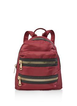 Large Zipper Detail Nylon Backpack - WINE - 3124067448050