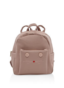 Small Faux Leather Cat Backpack - MAUVE - 3124067448052