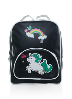Unicorn Graphic Faux Leather Backpack - 3124067448055