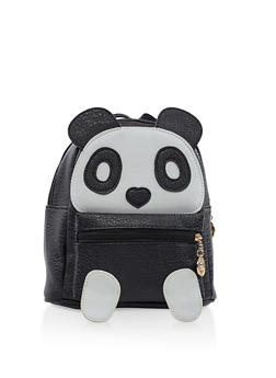 Small Faux Leather Panda Backpack - BLACK - 3124067448058