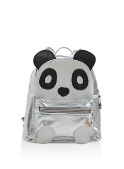 Small Faux Leather Panda Backpack - SILVER - 3124067448058