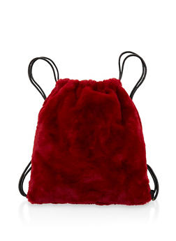 Faux Fur Drawstring Backpack - WINE - 3124067448062