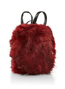 Small Faux Fur Backpack - WINE - 3124067448063