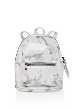 Marbled Faux Leather Mini Backpack - 3124067448066