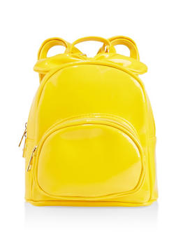 Faux Patent Leather Bow Backpack - 3124067448078