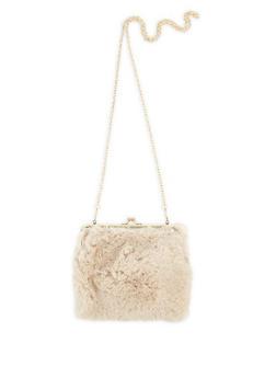 Faux Fur Kiss Lock Crossbody Bag - 3124067448099