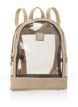 Small Clear Glitter Trim Backpack - 3124067448877