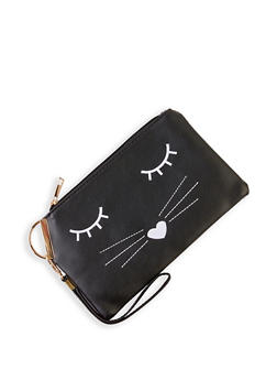 Embroidered Cat Clutch - 3124067449002