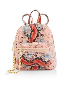 Small Snake Print Backpack - 3124067449003