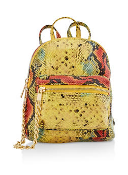 Small Snake Print Backpack - 3124067449003