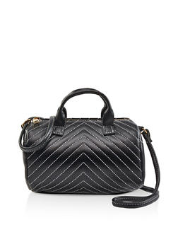 Quilted Faux Leather Crossbody Bag - 3124067449014