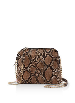 Snake Print Chain Crossbody Bag - 3124067449020