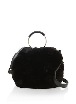 Circular Faux Fur Crossbody Bag - 3124067449028