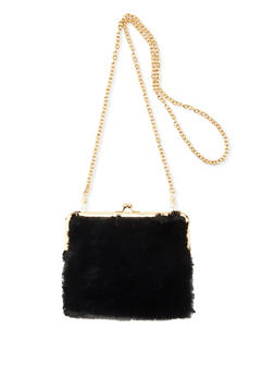 Faux Fur Kiss Lock Crossbody Bag - 3124067449029