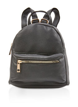 Faux Pebbled Leather Mini Backpack - 3124067449208