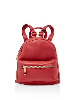Faux Pebbled Leather Mini Backpack - RED - 3124067449208