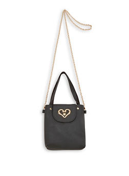 Heart Detail Faux Leather Crossbody Bag - 3124067449887